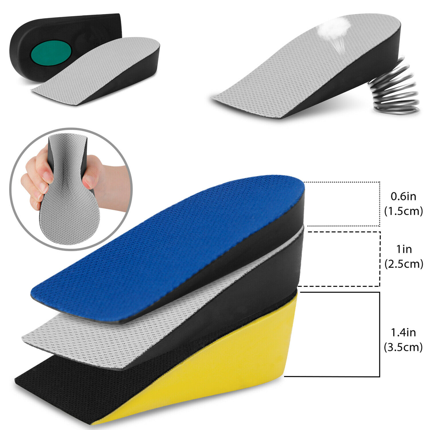 Lady Heel Lift Taller Shoe Inserts Height Increase Pads Silicone Insoles X0 I0G0