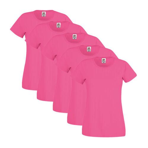 5er Pack Fruit of the Loom Damen Lady-Fit T-Shirt versch Farben LAGERVERKAUF