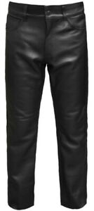 Leather-MOTORCYCLE-TROUSERS-Mens-Cowhide-Biker-Pants-Black-Lace-Motorbike-Jeans