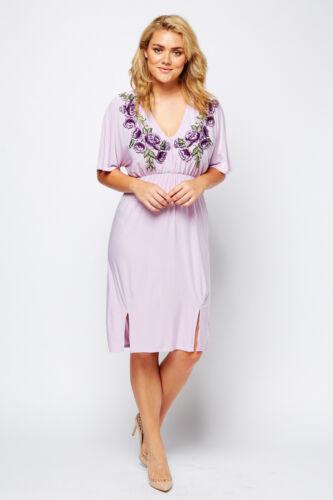 Women Midi Plus Size Embroider Floral Batwing Sleeve Violet V Neck Stretch Dress
