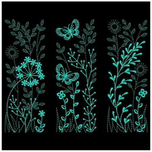 Decorative Flowers Teal Blue EMBROIDERED  10 QUILT BLOCKS Beautiful Set **