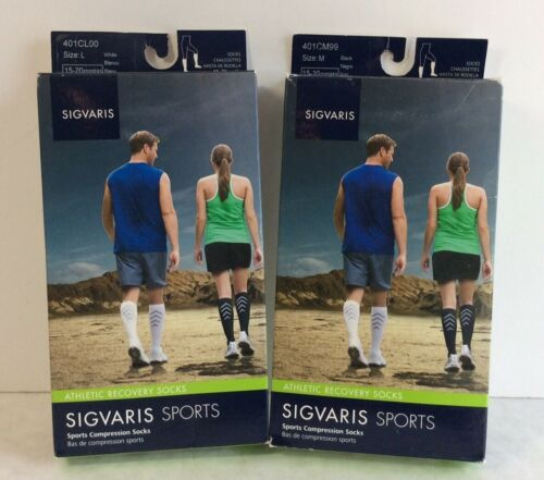 NEW Sigvaris Athletic Recovery Compression Socks Black /& White 401C S M L XL