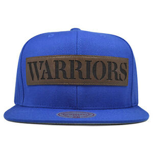 481ce302ab2616 Image is loading Golden-State-Warriors-LASER-CUT-LEATHER-Snapback-Mitchell-