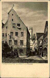 FUSSEN-Gasthof-ZUM-HASEN-Huttergasse-Zeichnung-um-1920-nach-Zeichnung-Neumann