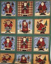 "Large 12 Panel Christmas Folk Art Nature Santa Claus DEBBIE MUMM SSI FABRIC 56"""