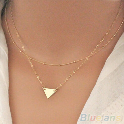 New Womens Simple Double Layers Golden Bronze Sequins Triangle Pendant Necklace