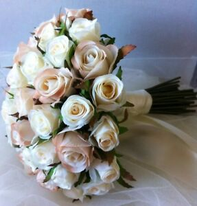 IVORY &CHAMPAGNE ROSES POSY 45 BUDS WEDDING BOUQUET ...