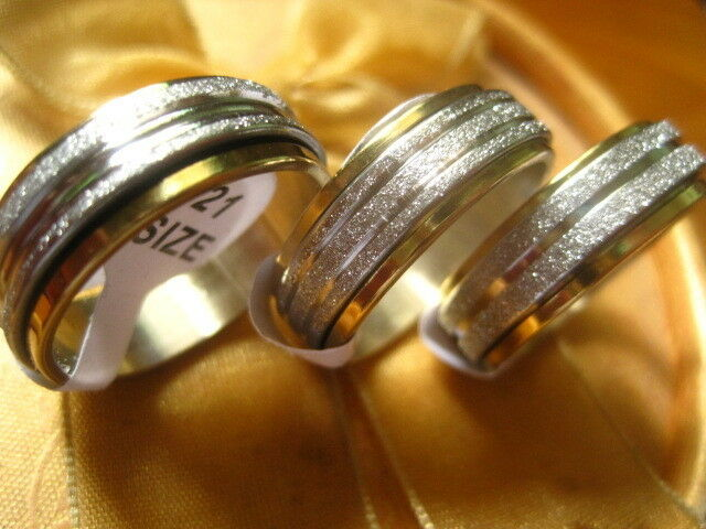 GOLD/SLIVER STAINLESS STEEL UNISEX SPINNER RINGS 3 TO CHOOSE FROM