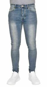 Men-Skinny-Jeans-Super-Stretchy-Slim-Fit-Denim-Pants-Flex-Faded-Blue-Trousers