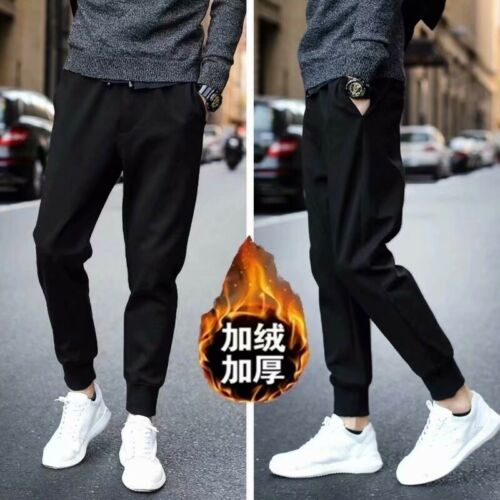 Men Winter Warm Plus Velvet Sport Pant Thickening Warm Long Pants Black Trousers