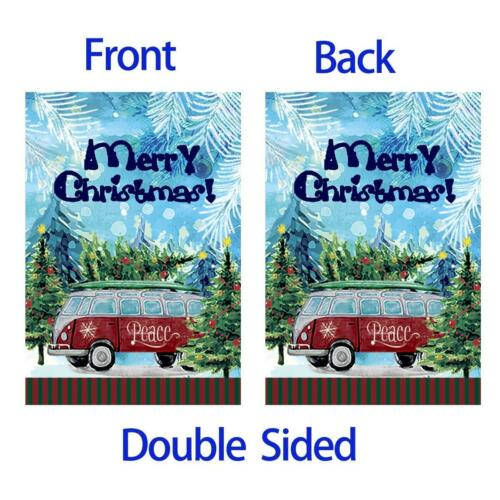 Morigins Merry Christmas Trees Double Sided Red Bus Winter Peace Garden Flag
