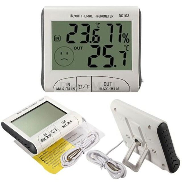 New Digital LCD Indoor Outdoor Weather Thermometer Hygrometer Humidity Meter C/F