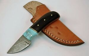 Details about Full Tang Damascus Skinner Knife with Buffalo Horn and Faux  Turquoise Handle