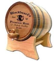 Personalized Blackbeard Whiskey Barrel Stand Size Choice