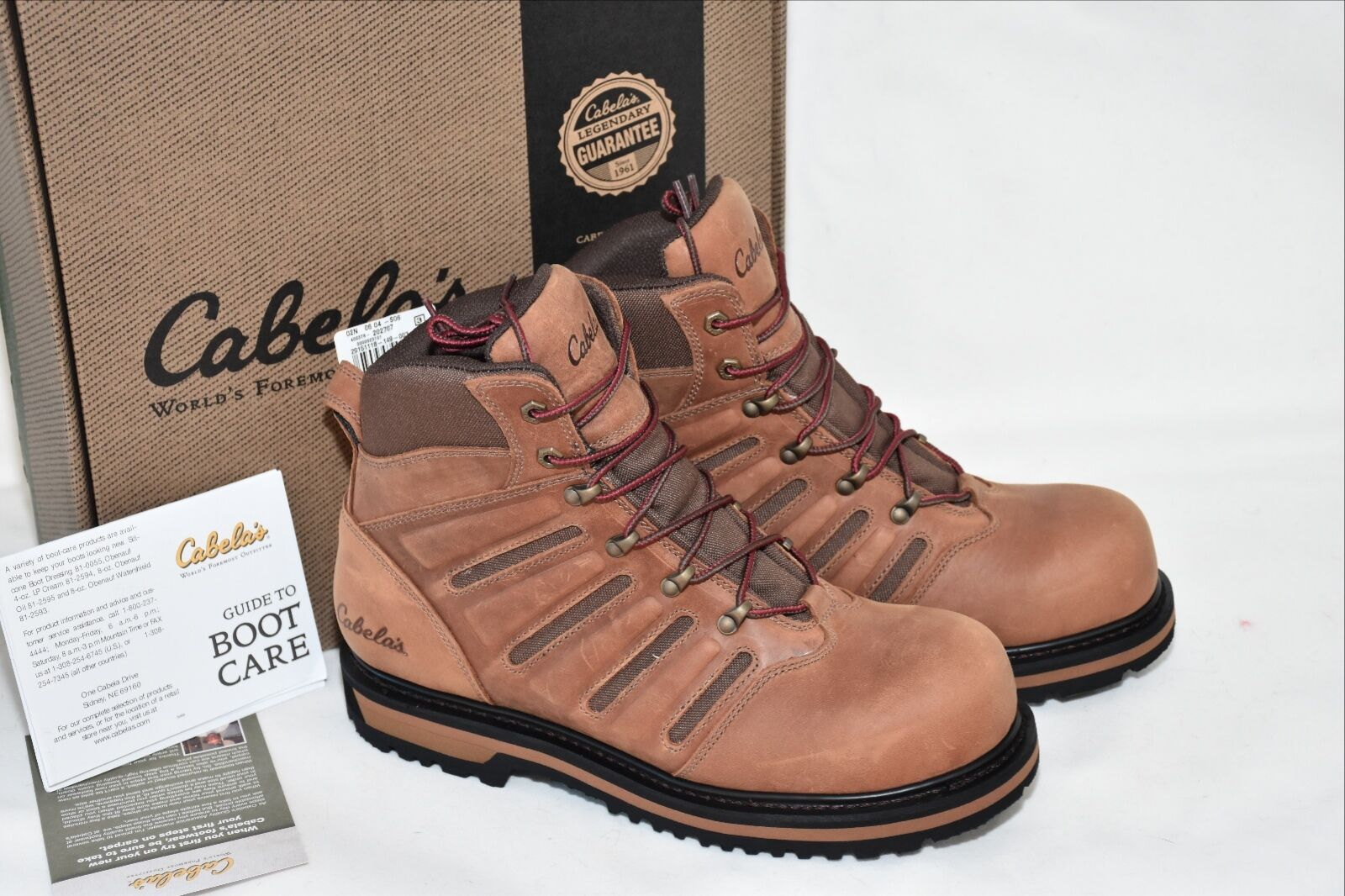 Cabela's Roughnec Vented Safety Toe S.A.W. Work Boots Leather 7