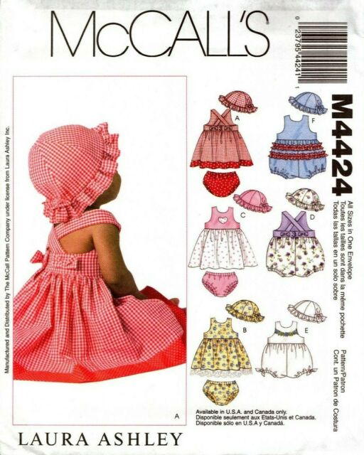 Panties and Hat Rompers McCalls Patterns M4424OSZ M4424 Infants Dresses
