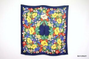 GUCCI-Vintage-Large-Scarf-Silk-100-Floral-Accessory-Collection-Navy-1722k
