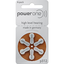 Hearing Aid Battery 60 Piece Size 312 1.45V 180mAh Brown Tab Zinc Air Batteries