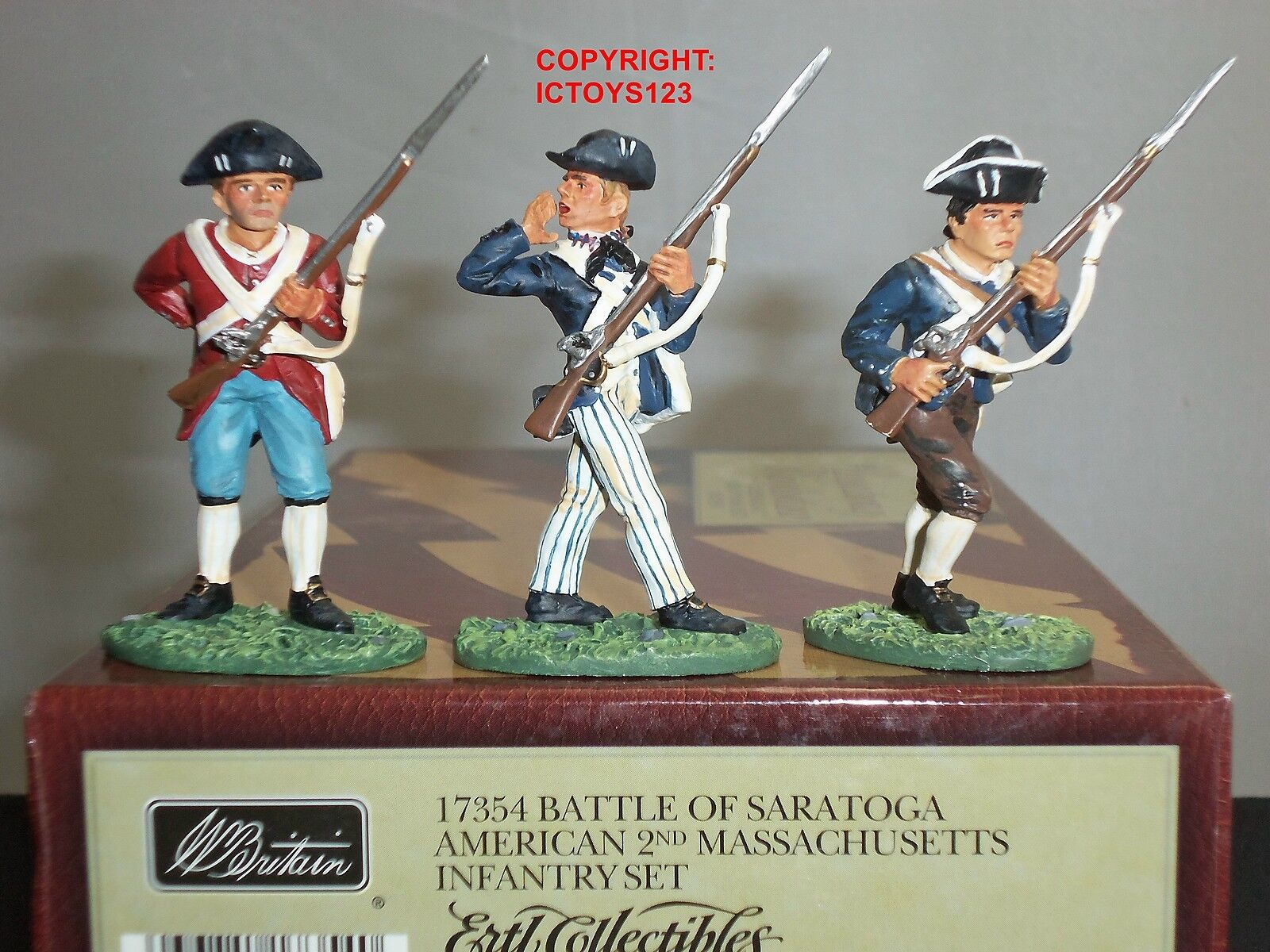 BRITAINS 17354 AMERICAN 2ND MASSACHUSETTS METAL TOY SOLDIER FIGURE INFANTRY SET