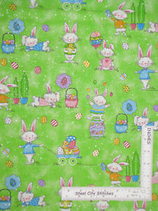 Easter-Bunny-Rabbit-Eggs-Green-Silver-Glit-Cotton-Fabric-Traditions-By-The-Yard