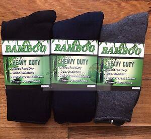6 Pairs 98% BAMBOO SOCKS Men's Heavy Duty Premium Thick Work BLACK/Navy/Grey