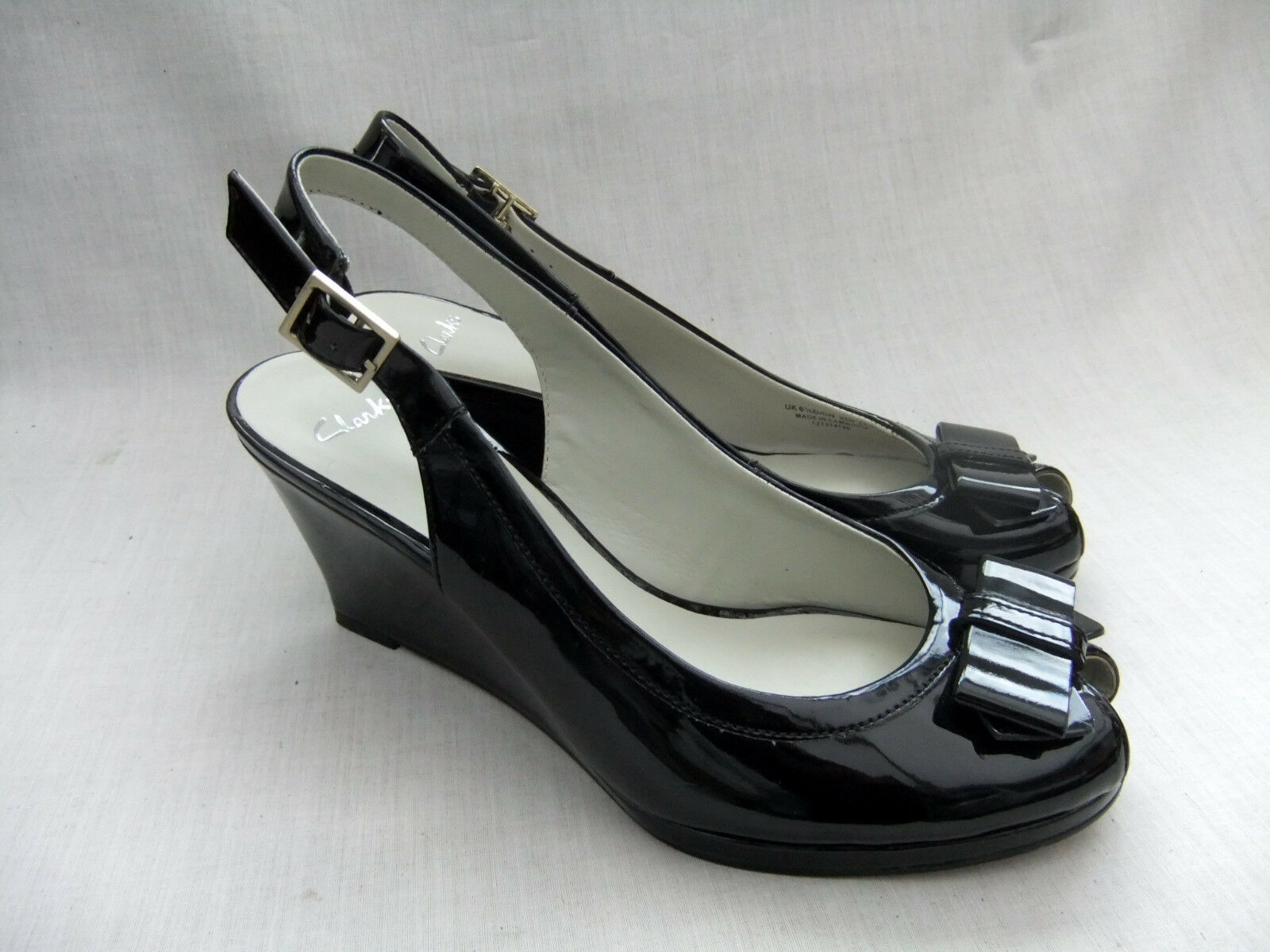 NEW CLARKS SKYLA BAHAMA femmes noir PATENT WEDGE SANDALS chaussures