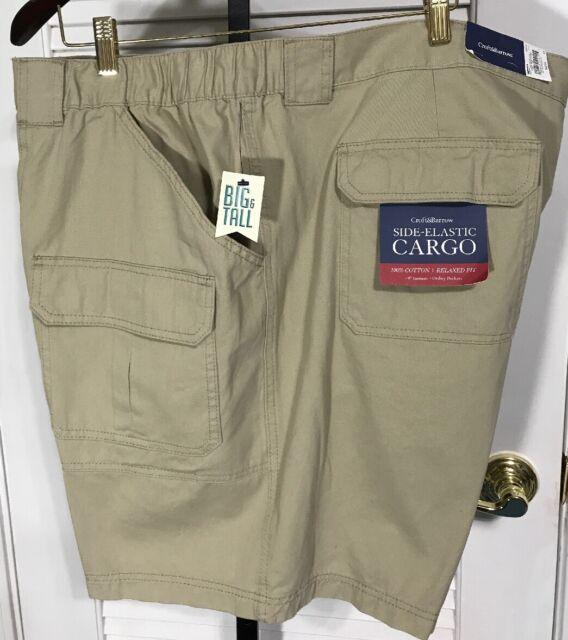 New Men/'s Croft /& Barrow Side Elastic Cargo Shorts  MSRP $36 Smokey Forest