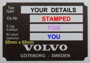 Gestempelt-Vin-id-plate-Neu-Volvo-PV-p1800-meisten-MKS-120-140-Blank-VIN-chassis-plate