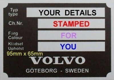 VIN ID PLATE NEW VOLVO PV P1800 AMAZON 120 140 blank vin chassis plates plant 22
