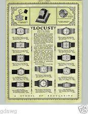 1928 PAPER AD 2 Sided Locust Wrist Watch 15 Jewel Rectangular Face