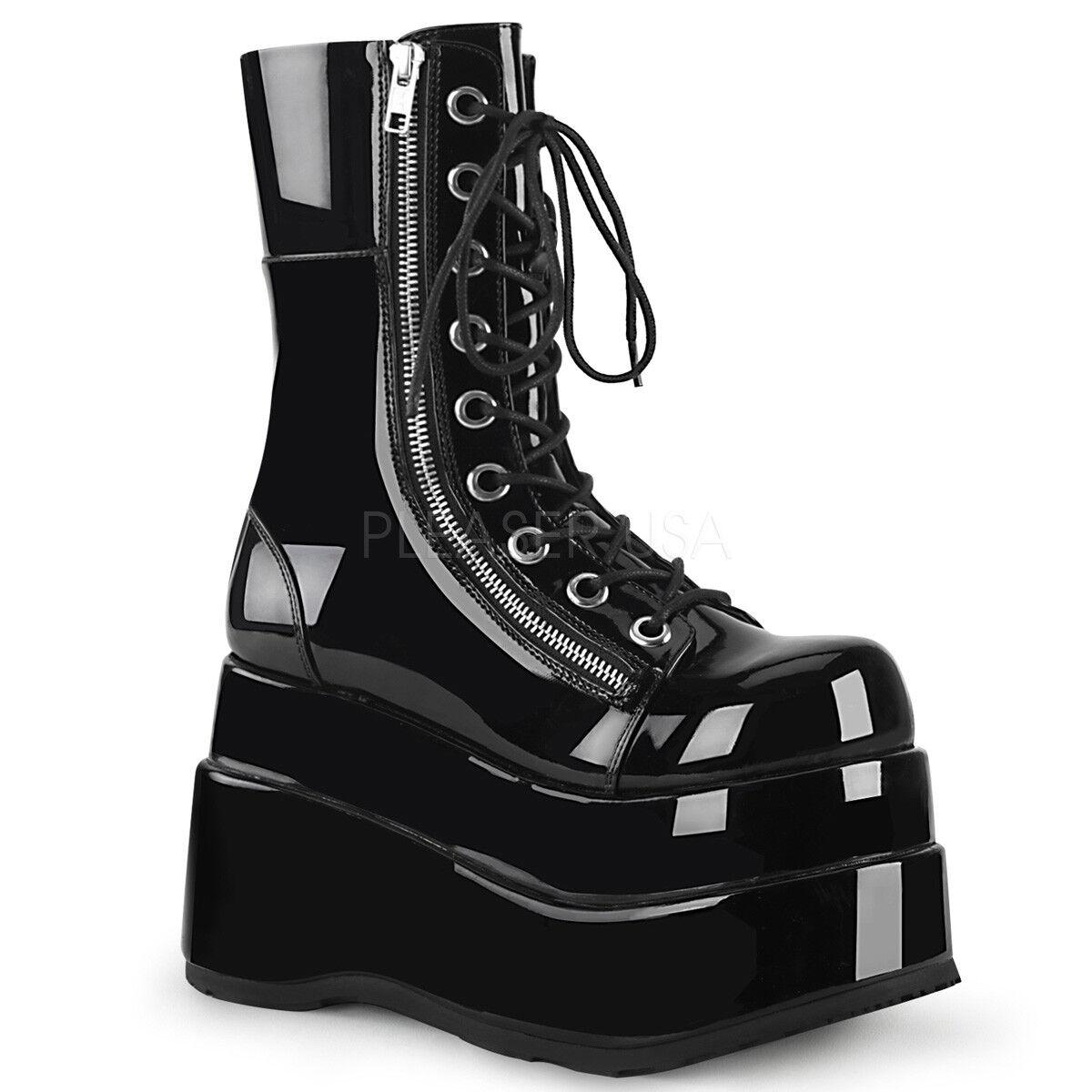 Huge Demonia 4.5  Stacked Platform Shiny nero Calf Zipper stivali Goth 6-12