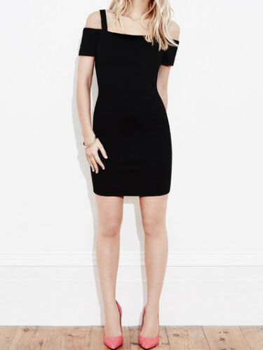 MISS SELFRIDGE BARDOT CAGE BACK BLACK DRESS 4.6.8.10.12  FREE P/&P