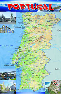 PORTUGAL Map Poster Wall Chart A Size Educational Teaching - Portugal map size