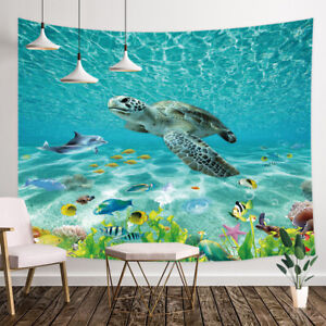 Under Sea World Turtle Wall Tapestry Wall Art Hanging for Bedroom Living Room