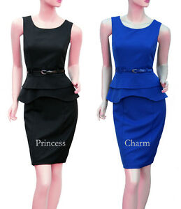 Peplum-Office-Pencil-Dress-Black-Blue-Belted-Plus-Size-22-20-18-16-14-12-10-New