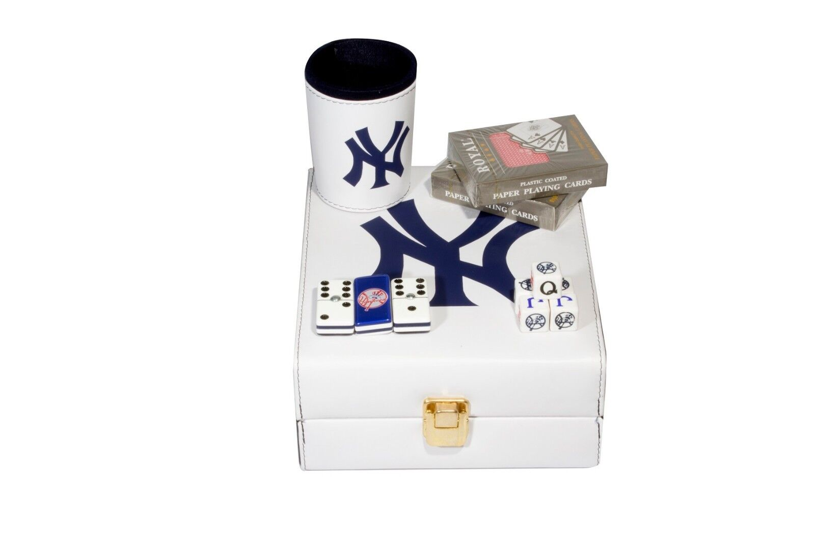 nuovo York Yankees Deluxe Set 3  giocos  Domino, Dice Cup, 2 Poker autods  comprare sconti