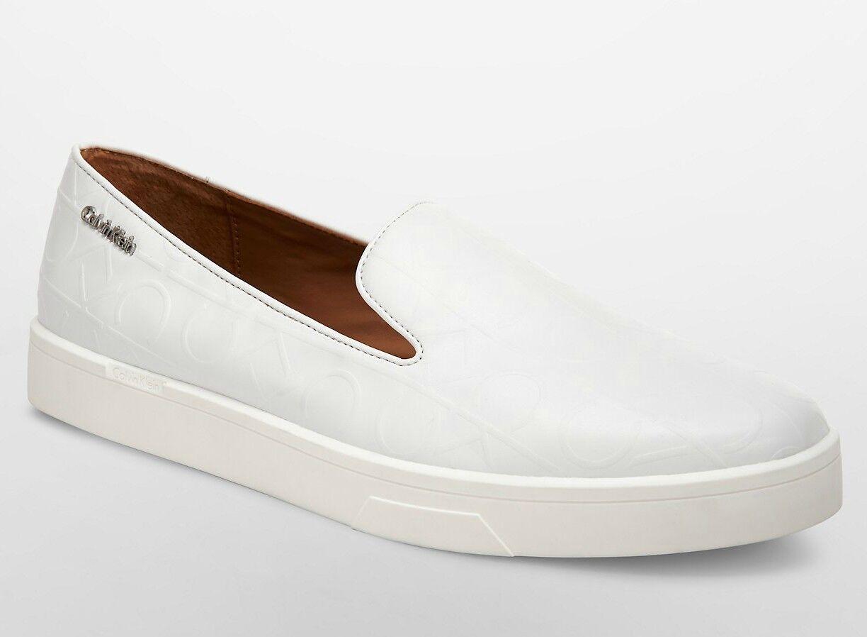 Calvin Klein Ilaina 8 Signature Platinum Weiß Leder Fashion Fashion Fashion Walking Trainers 0d2074