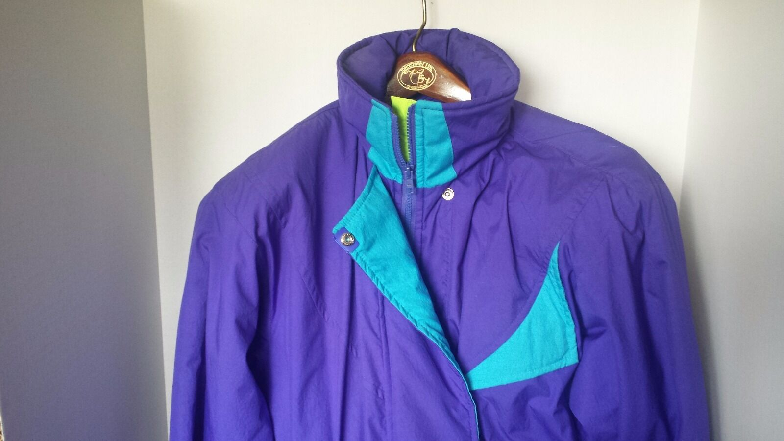 OBERMEYER SNOW SUIT Vintage One Piece Ski Suit Purple Neon  Green bluee Ladies 10  fast shipping to you