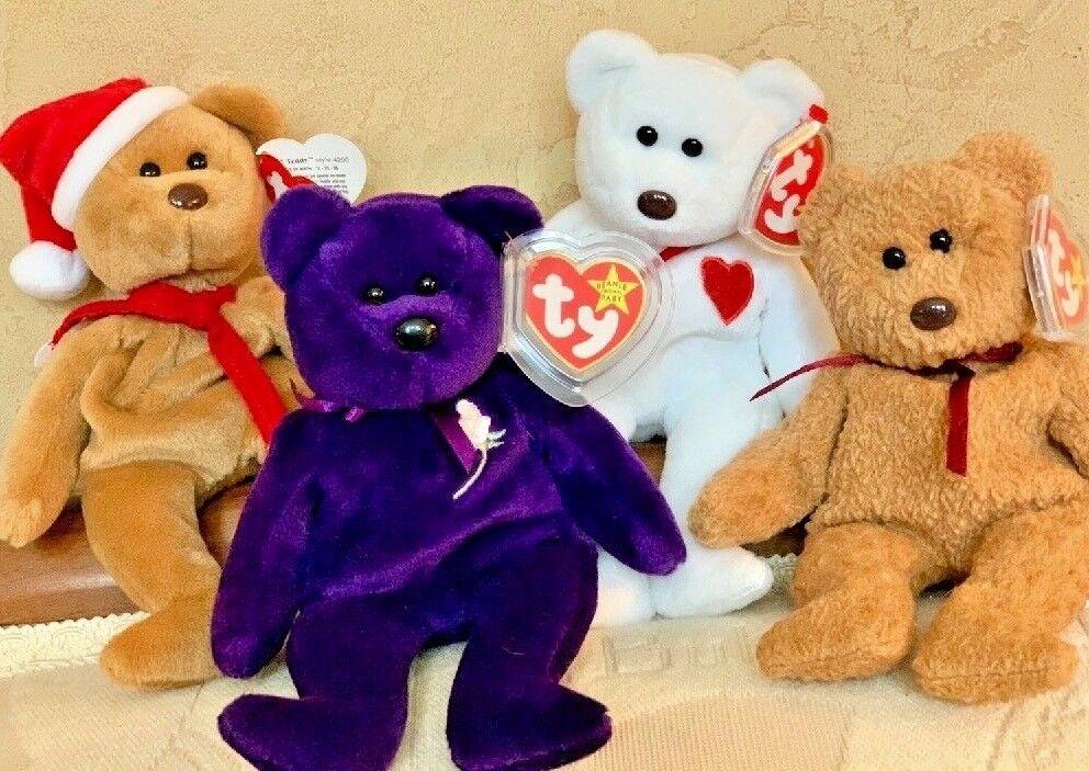 Gruppe  4  selten ty beanie babys - der teddy, prinzessin, valentino und curly