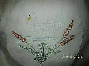 Finished-Embroidery-Swan-Completed-10-034-Circle-Vintage