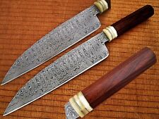 "Damascus Steel Japanese Sushi Chef Knife Forged 1095 HC & 15N20 13.5"" Cutlery"
