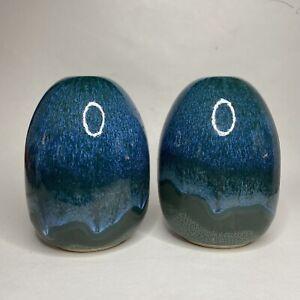 Art Pottery Porcelain Blue Drip Glaze Over Green Vase Matching Pair Weed Pot