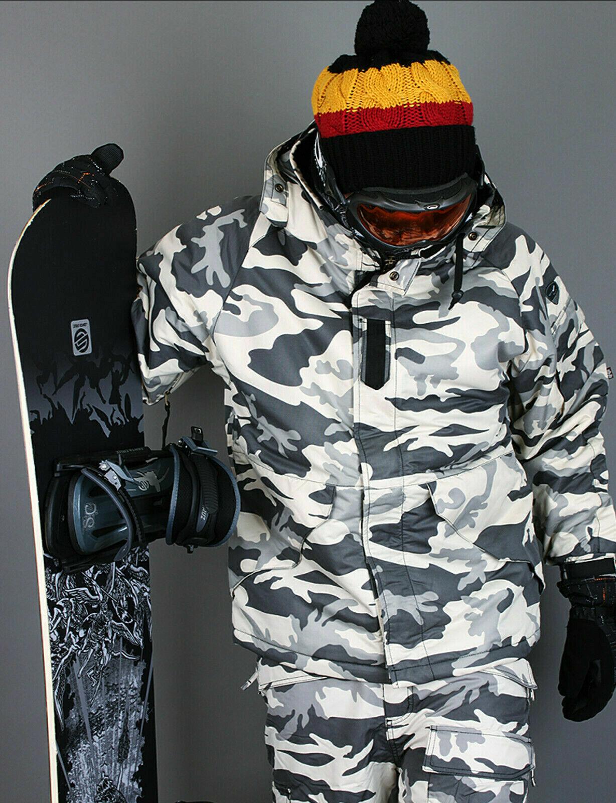 K style  weißes Militär Winter wasserdicht Ski-Snowboard Jacke SXXL