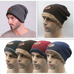 5e51439cfac Fleece Lined Beanie Baggy Hat Knitted Winter Warm Cap Slouch Ski ...