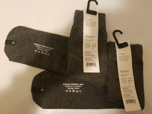 Richer Poorer Crew Socks BLACK OR CHARCOAL Choose your color 2 PAIRS