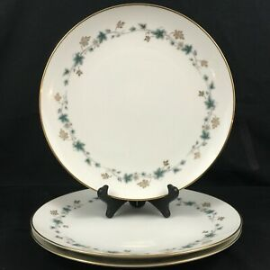Set-of-3-VTG-Dinner-Plates-10-1-2-034-Noritake-Elmdale-Blue-Gold-Leaves-6219-Japan