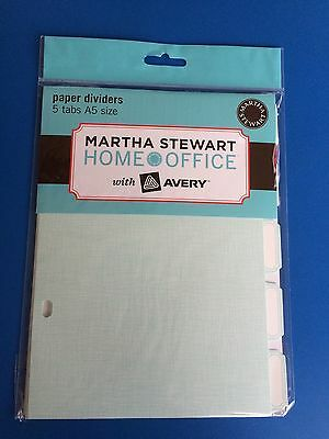 Martha Stewart Index Cards Paper Dividers/ Organiser ~ Blue A5 Size