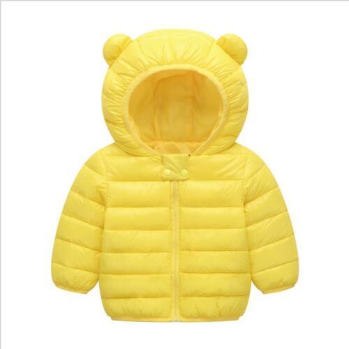 Kids Baby Boys Girls Winter Warm Outwear Down Cotton Hooded Zipper Coat Jacket