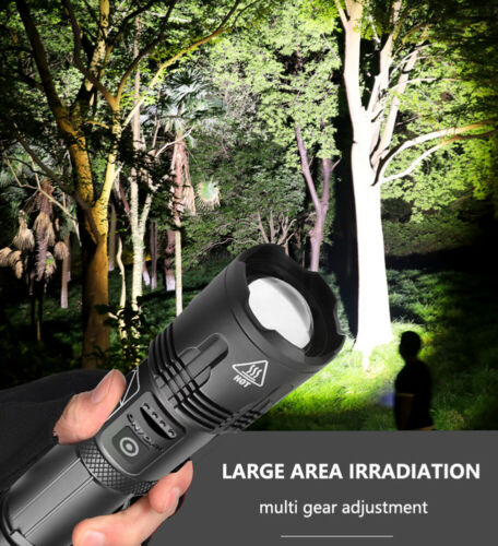 60000 Lumen Waterproof 5 Modes Flashlight P70 LED Telescopic Zoomable Torch HE