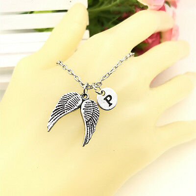 Angel Wings charm Initial Letter Necklace stamped monogram chain Pendant